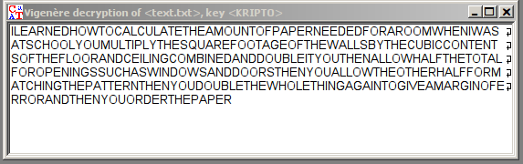 text decrypted with KRIPTO key